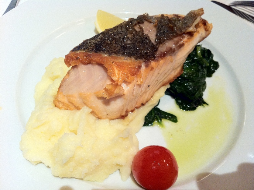 Salmon, Spinach, and Mashed Potatoes