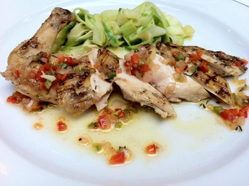 Thyme Grilled Chicken Breast, Lemon Flavored Zucchini Tagliatelle