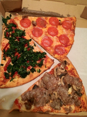 Pepperoni, Mushroom and Sausage, and Spinach and Roasted Tomatoes Pizzas