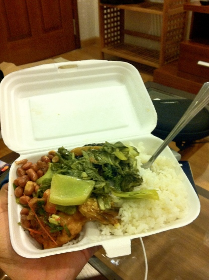 White Rice, Greens, Salted Peanuts, Pork-Filled Tofu in Tomato Sauce, and Fish