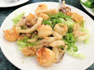 Salt Baked Shrimp, Scallops, and Squid