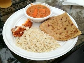 Butter Masala, Fish Tikka, Rice, and Naan