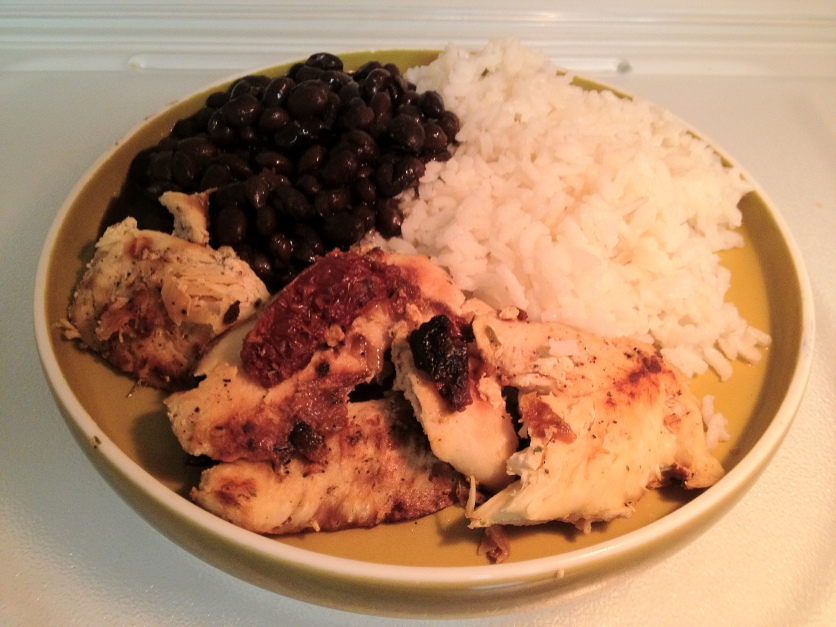 Sautéed Chicken w/Sun-Dried Tomatoes, Black Beans, White Rice