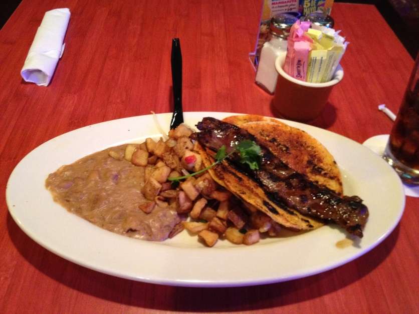 Beef Fajita Steak, Corn Tortillas, Refried Beans, Breakfast Potatoes