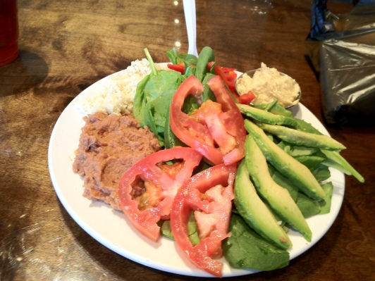 Spinach, Beans, Couscous, Tomatoes, Avocado, Hummus, and Red Peppers