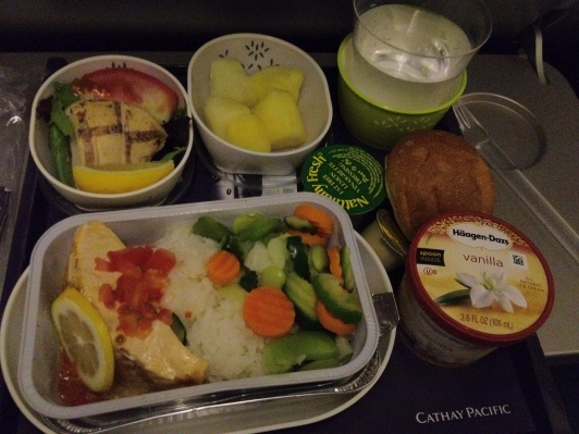 Cold Chicken with Salad, Salmon with White Rice and Mixed Vegetables, Pineapple, Häagen-Dazs Vanilla Ice Cream