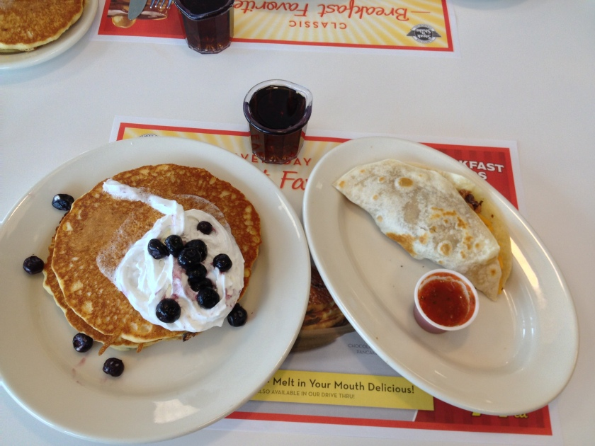 Blueberry Pancakes, Bean and Cheese Taco