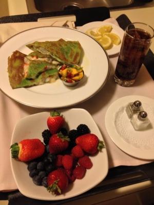 Dinner: Mixed Berries, Rock Shrimp Quesadillas
