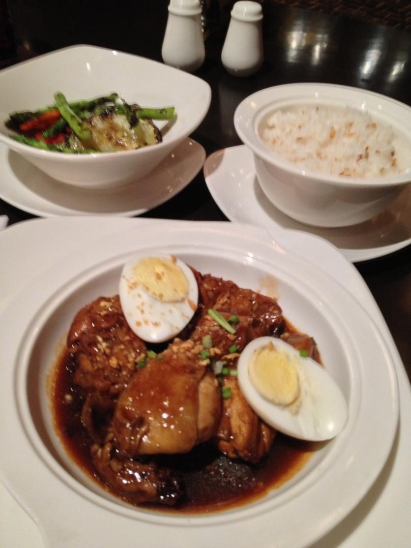 Garlic Rice, Steamed Vegetables, Chicken Adobo