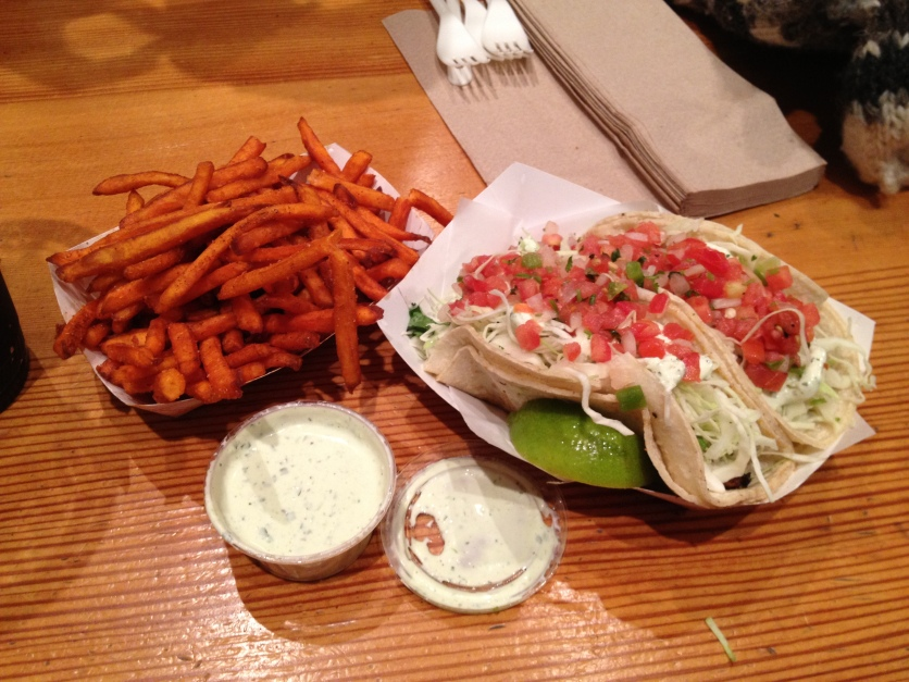 Fish Tacos, Sweet Potato Fries