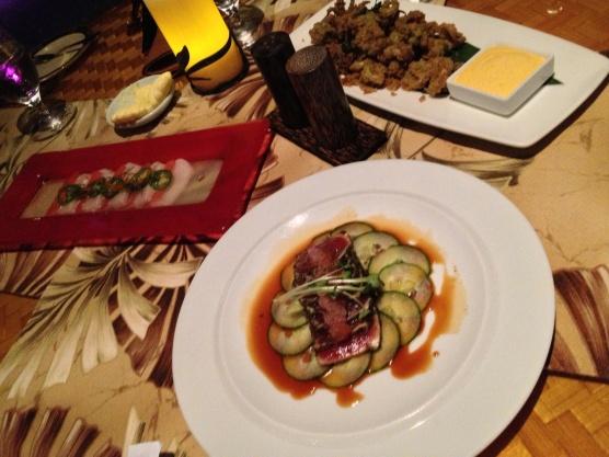 Ahi Sashimi, Hamachi & Compressed Watermelon, Wasabi Crusted Calamari