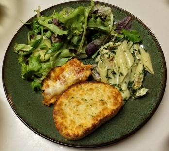 Salad, Pasta, Lasagna, Garlic Bread