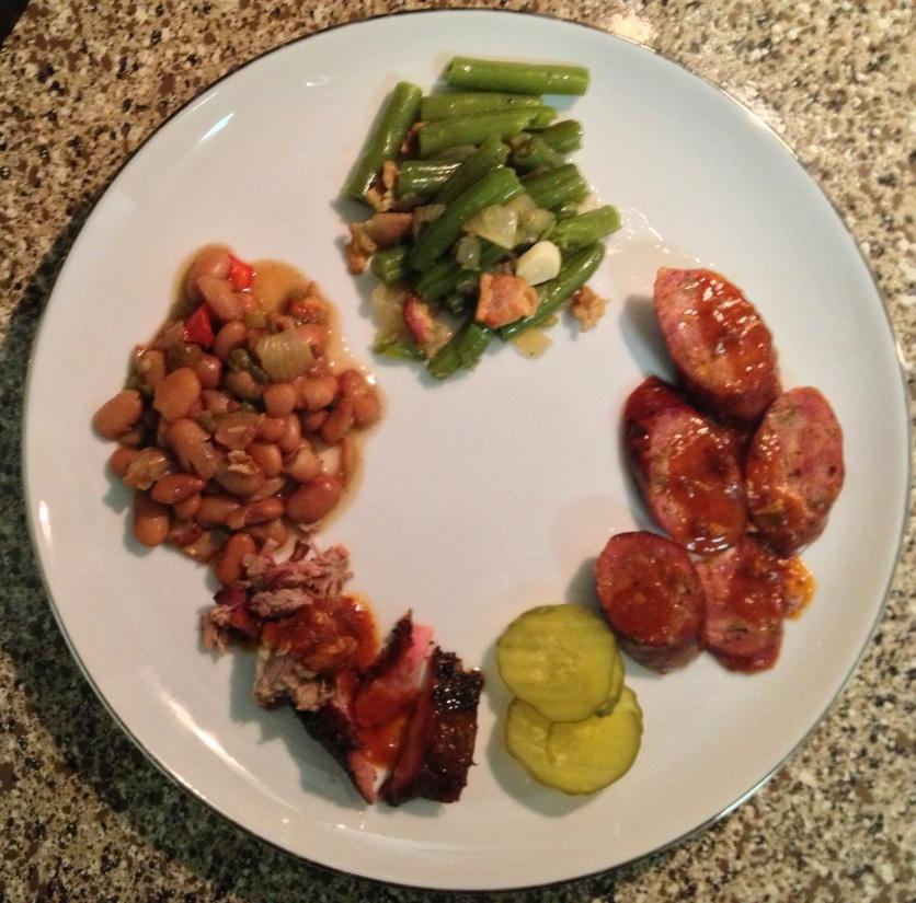 Jalapeño Sausage, Jalapeño Pinto Beans, and Green Beans