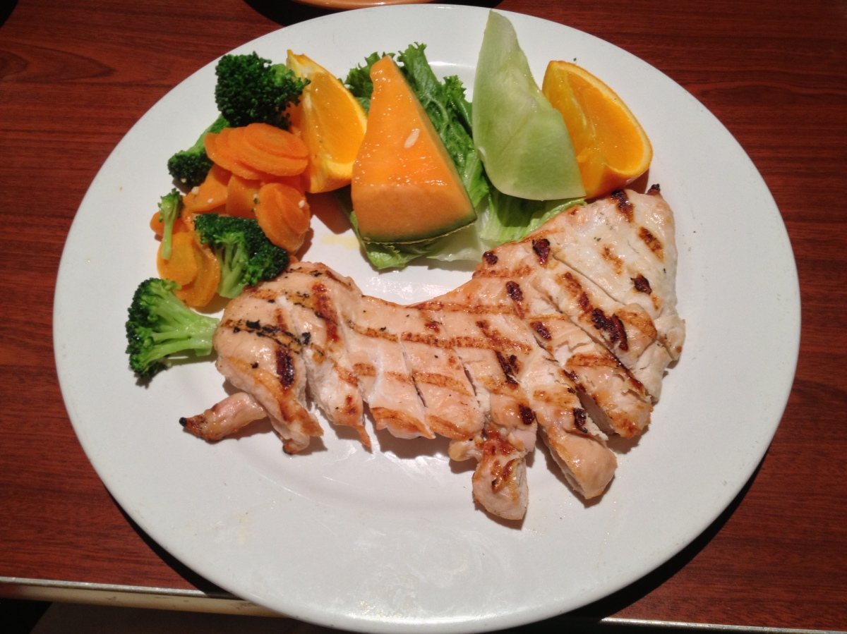 Grilled Chicken, Steamed Vegetables, Fruit