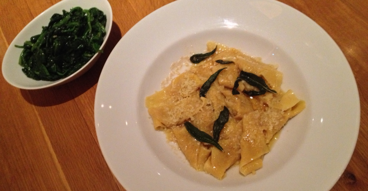 Pumpkin Ravioli With Sage Brown Butter And Parmigiano, Sautéed Spinach With Garlic And Lemon