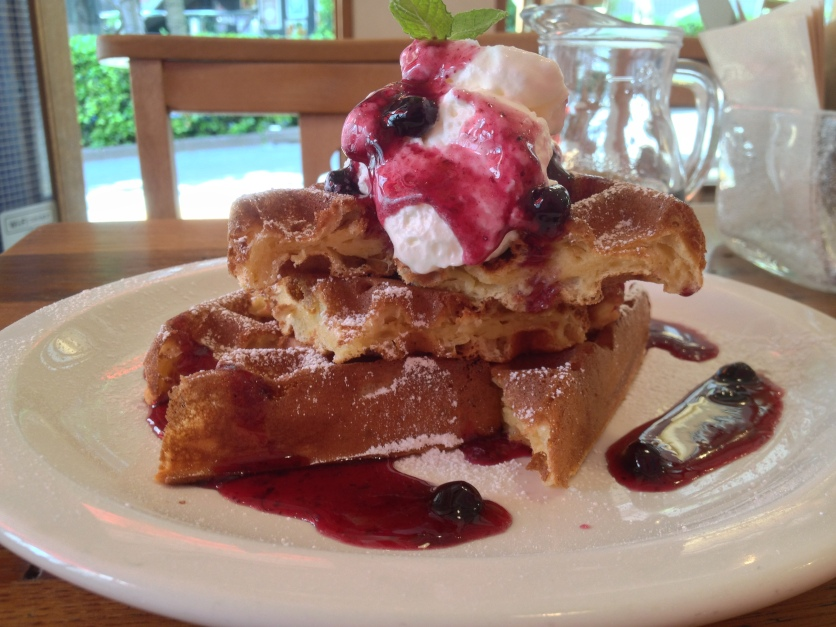 Waffles With Blueberry Sauce and Whipped Cream