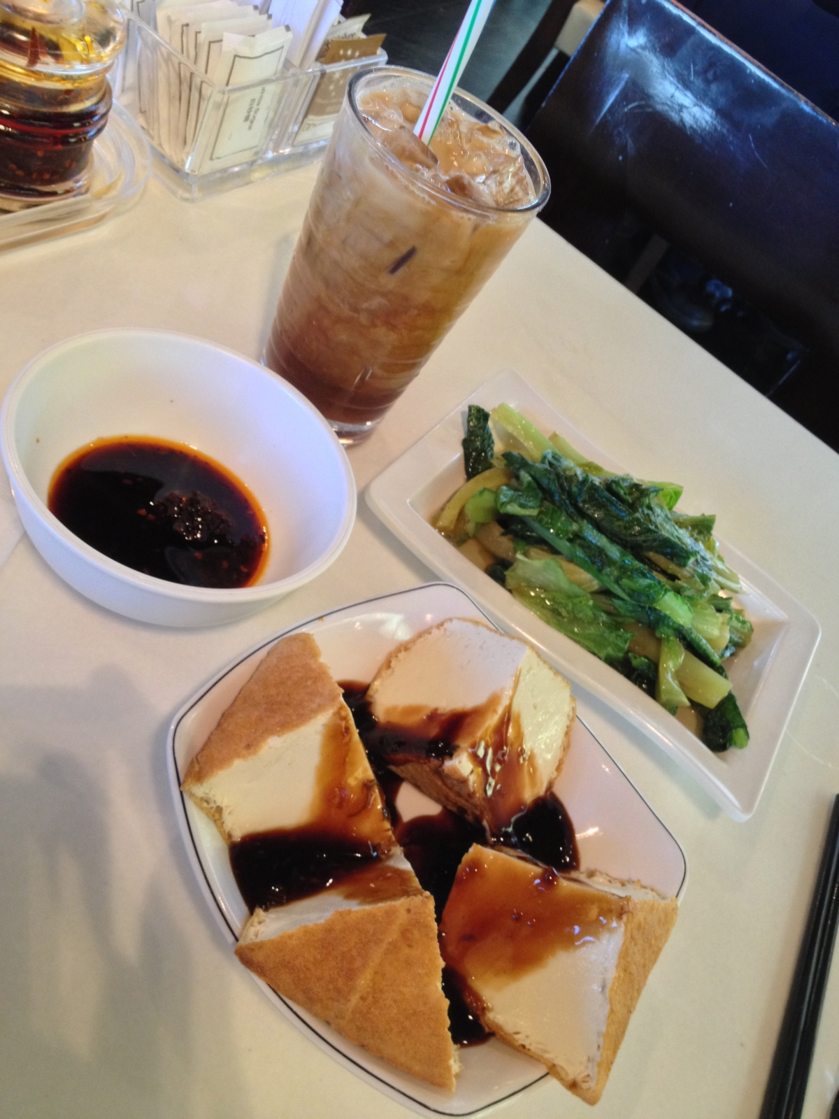 Fried Bean Curd Taiwanese Style, Fried A Vegetable, Ice MilkTea