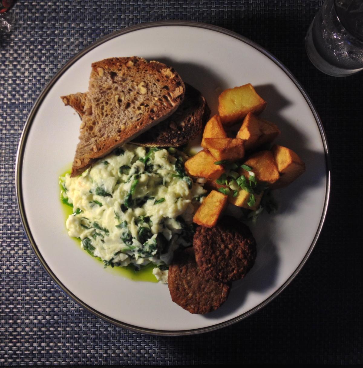 Egg White Scramble, Walnut Bread, Veggie Sausage,Potatoes