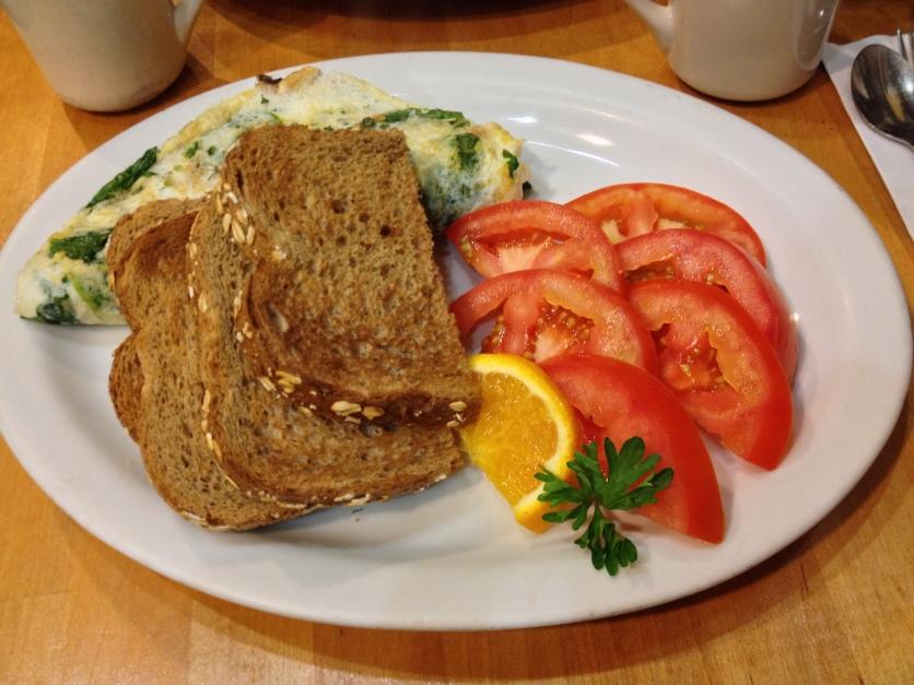 Egg White Omelet, Sliced Tomatoes, Toast