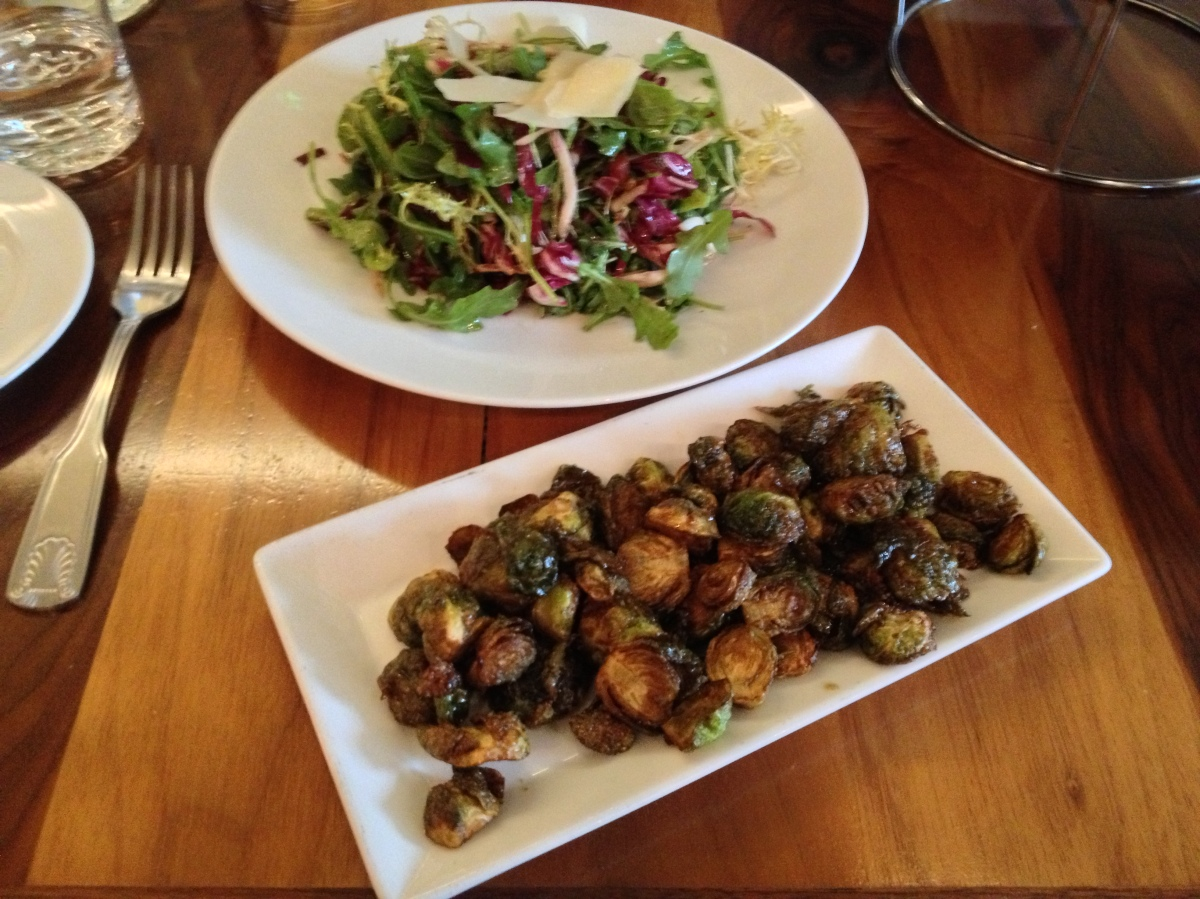 Local Salad, Garlic Roasted Brussel Sprouts