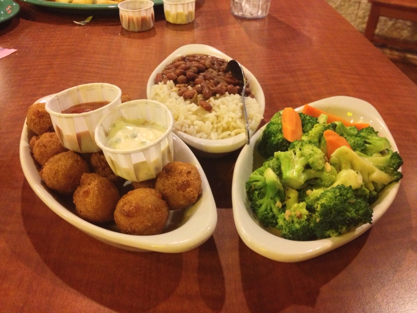 Hushpuppies, Red Beans And Rice, Broccoli and Carrots