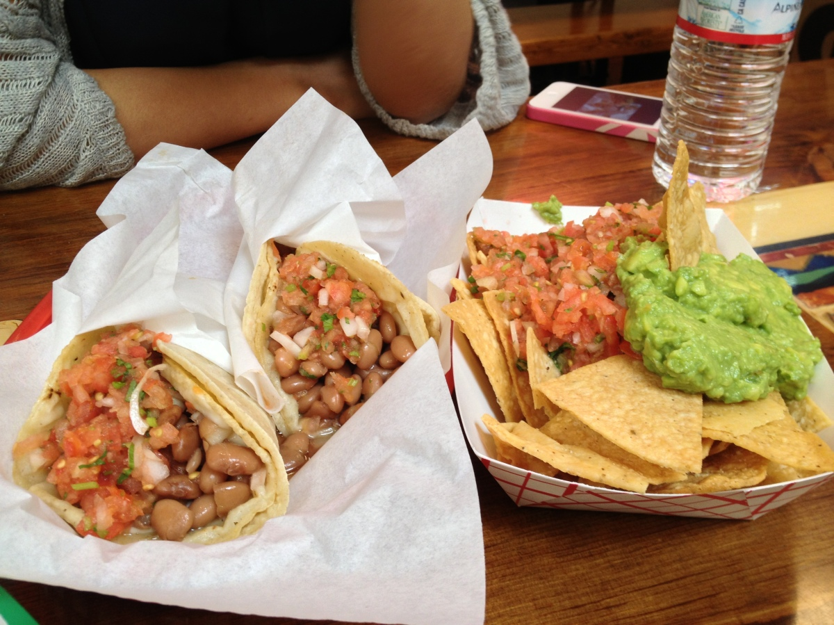 Vegetarian Tacos, Chips With Guacamole And Salsa