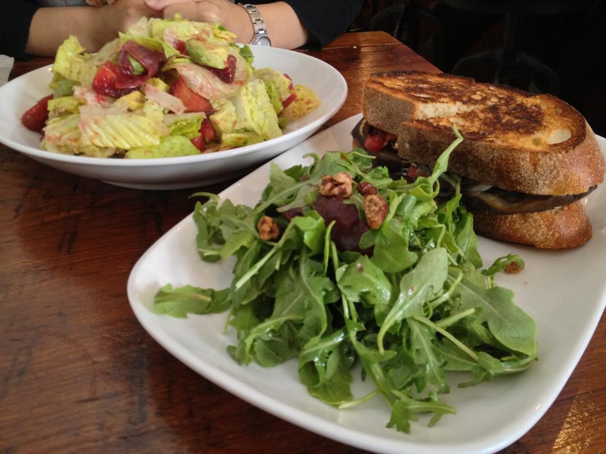 Avocado & Plum Salad, Roasted EggplantSandwich