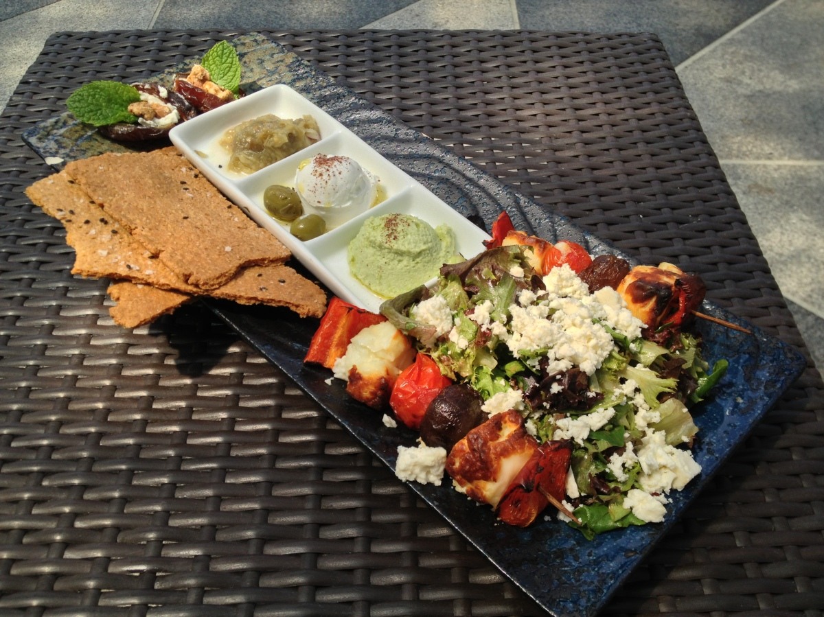 Halloumi Cheese & Veggie Kebabs, Mixed Greens Salad, Edamame Hummus, Walnut Chevré-Stuffed Dates, Olives, Greek Yogurt, Herbed Crackers