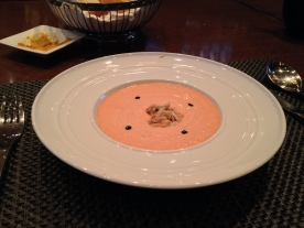 Cold Tomato Soup w/Crab Meat and Balsamic Drops