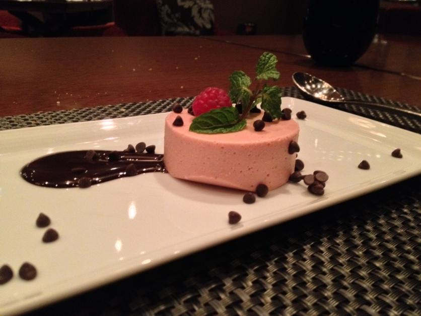 Strawberry Pannacotta w/Chocolate Sauce