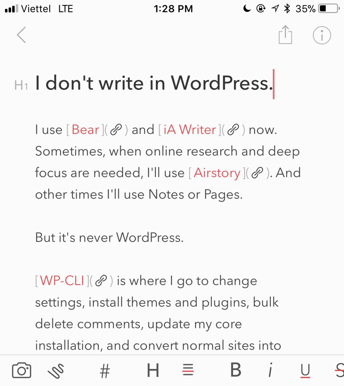 I Don't Write inWordPress